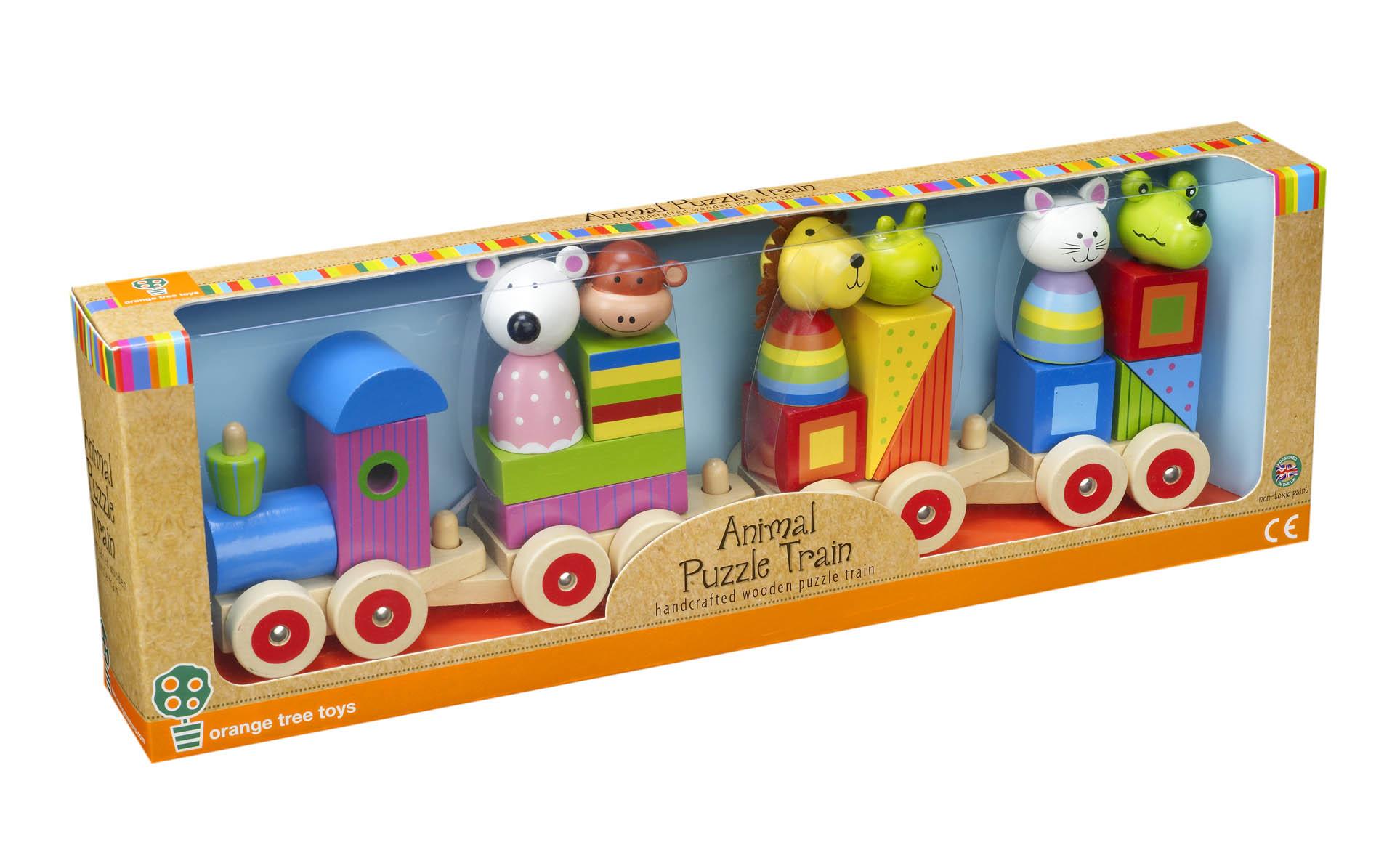 Дървено влакче с животни за дърпане от Orange Tree Toys