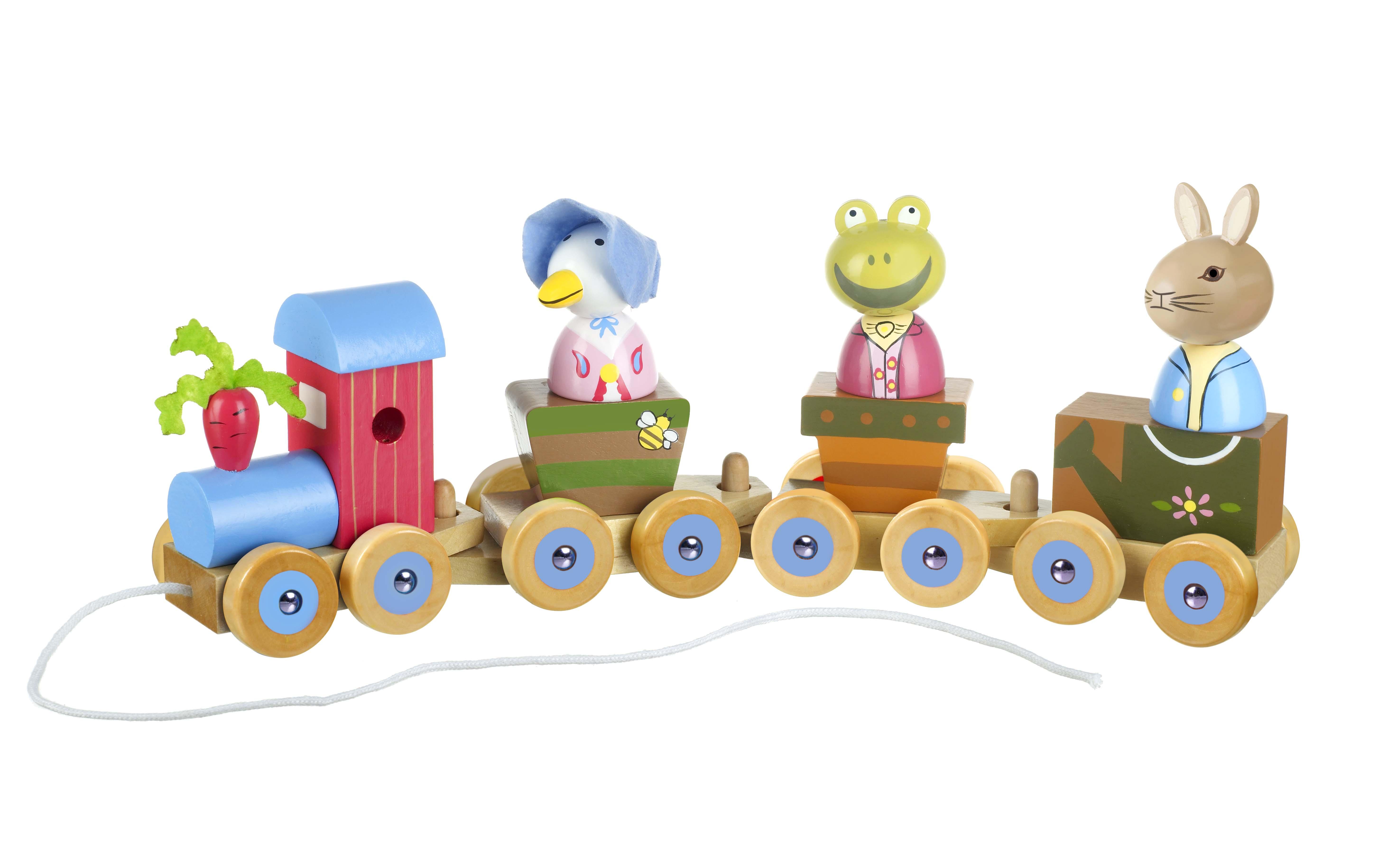 Дървено влакче за дърпане и нанизване - Зайчето Питър от Orange Tree Toys - Bellamie store