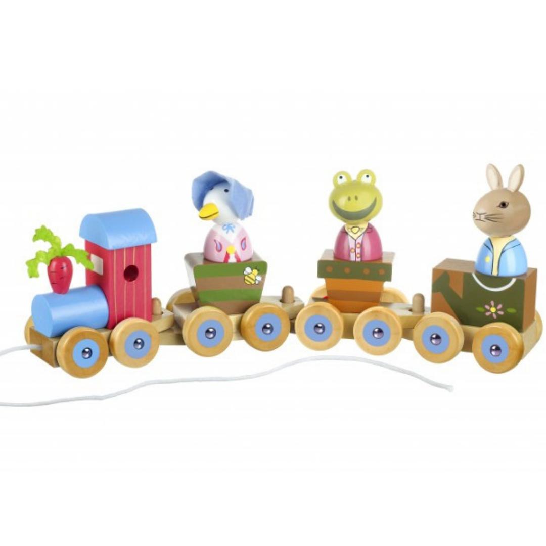 Дървено влакче за дърпане и нанизване - Зайчето Питър от Orange Tree Toys(11)-bellamiestore