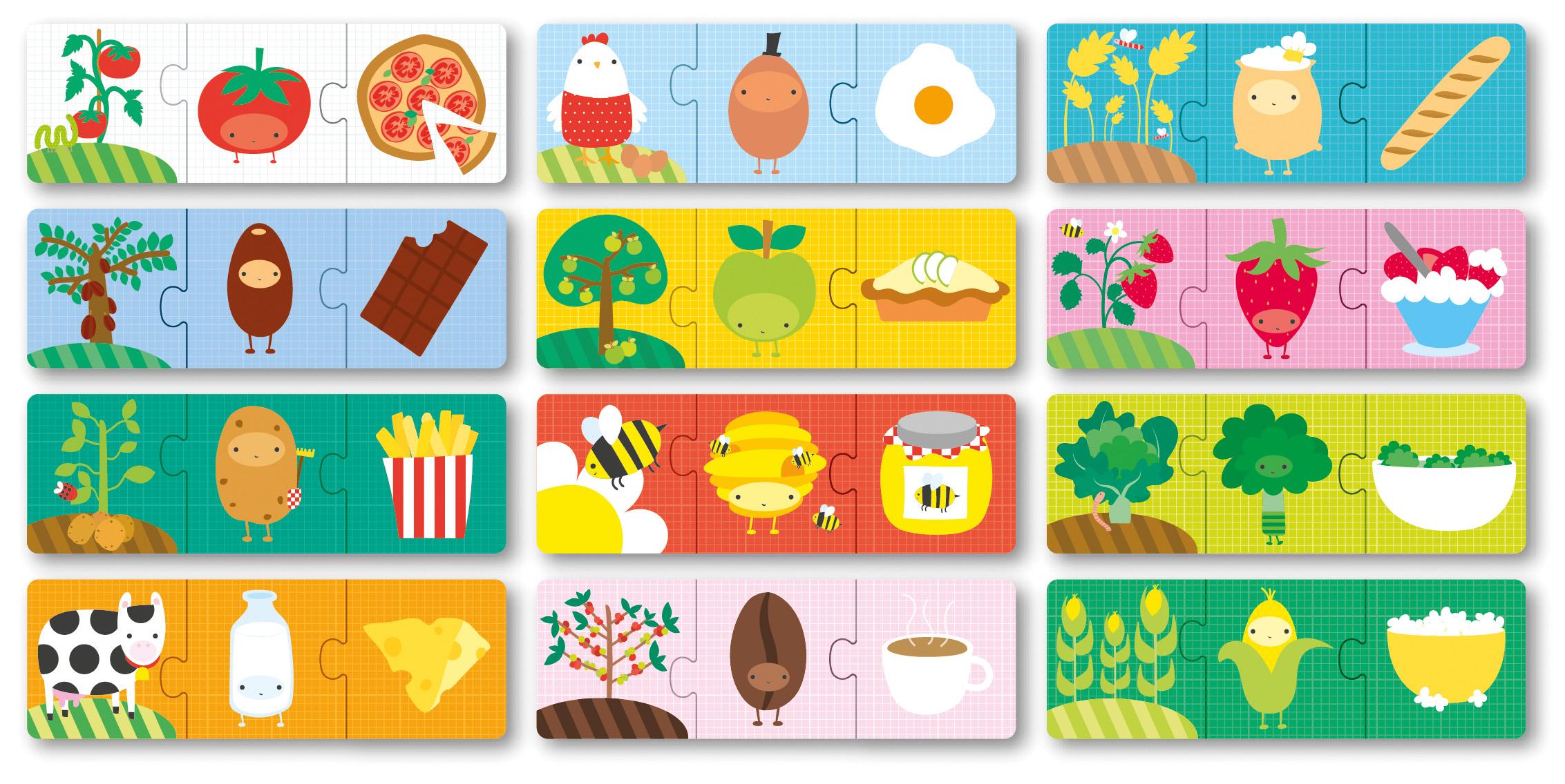 Детски образователен пъзел - Произход на храната от Apli kids(1)-bellamiestore