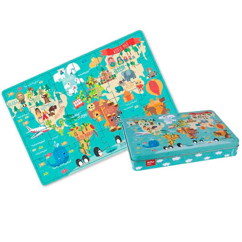 Детски образователен пъзел - Карта на света от Apli Kids -bellamiestore