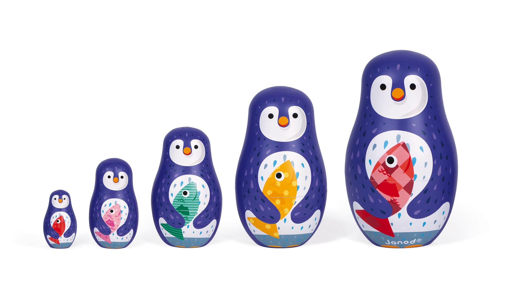 Дървени матрьошки - Пингвини - дървени играчки от Janod(5)-bellamiestore