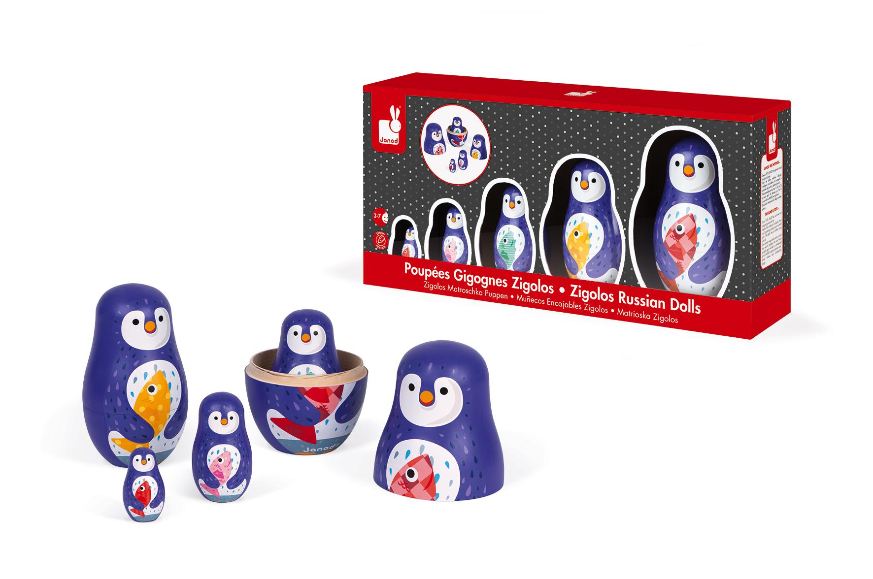 Дървени матрьошки - Пингвини - дървени играчки от Janod(4)-bellamiestore