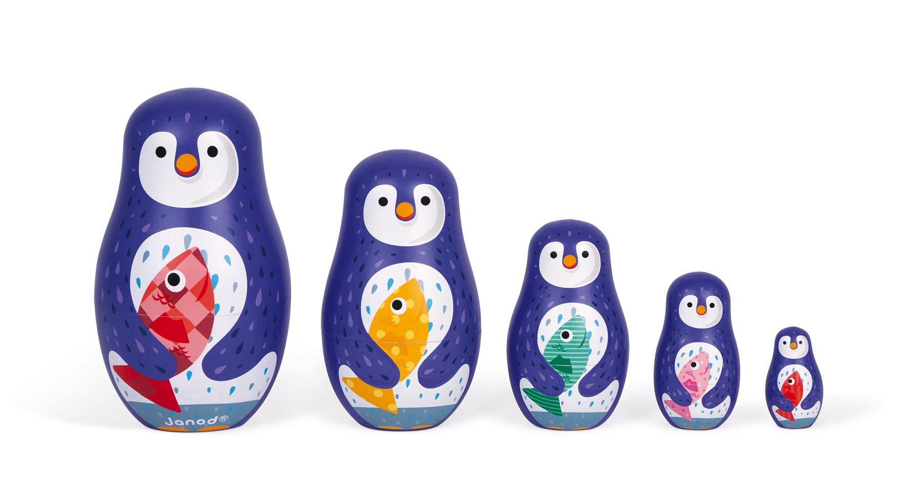 Дървени матрьошки - Пингвини - дървени играчки от Janod(3)-bellamiestore
