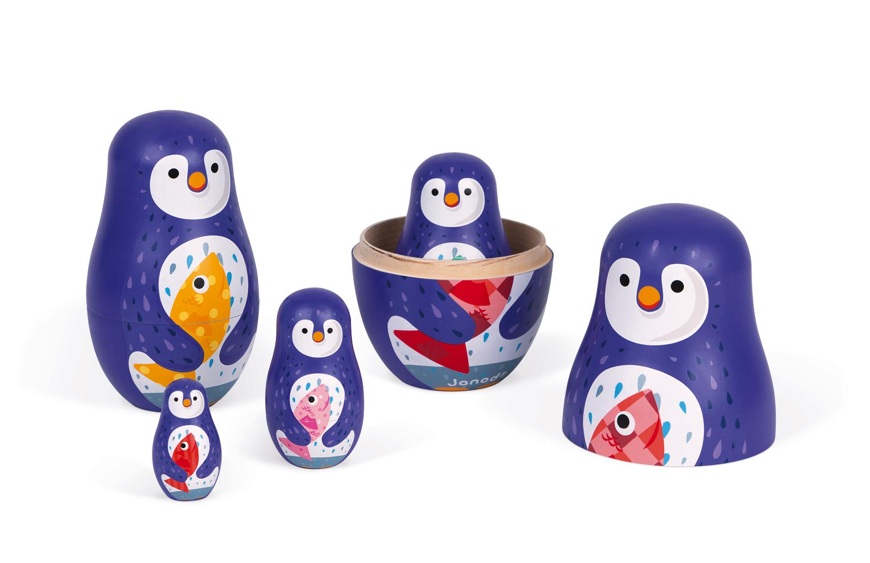 Дървени матрьошки - Пингвини - дървени играчки от Janod(1)-bellamiestore