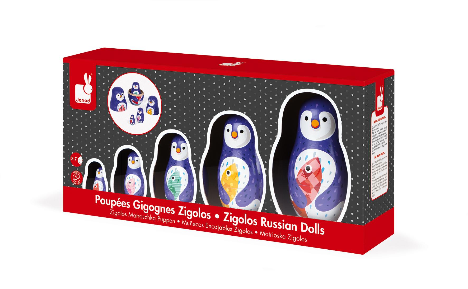 Дървени матрьошки - Пингвини - дървени играчки от Janod-bellamiestore