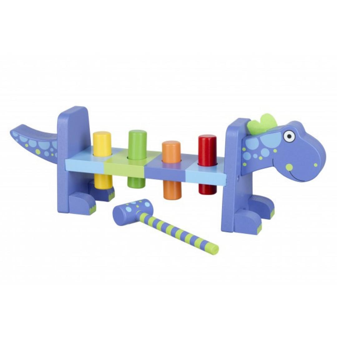 Дървена Играчка с чукче - Динозавър от Orange Tree Toys - бебешка играчка-bellamiestore
