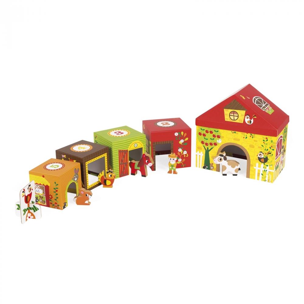 Фермата- образователна играчка от кубчета - дървени играчки и игри от Janod-bellamiestore