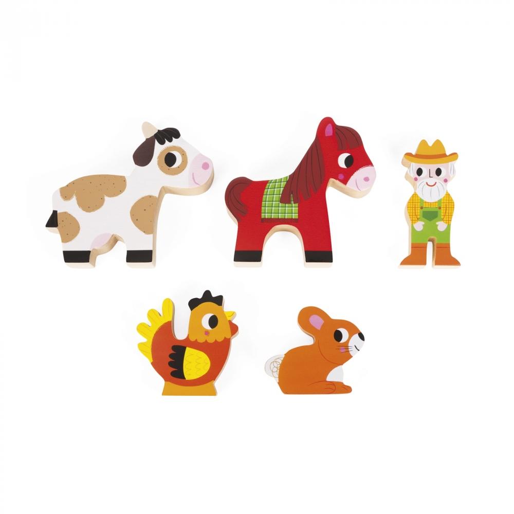 Фермата- образователна играчка от кубчета - дървени играчки и игри от Janod(1)-bellamiestore