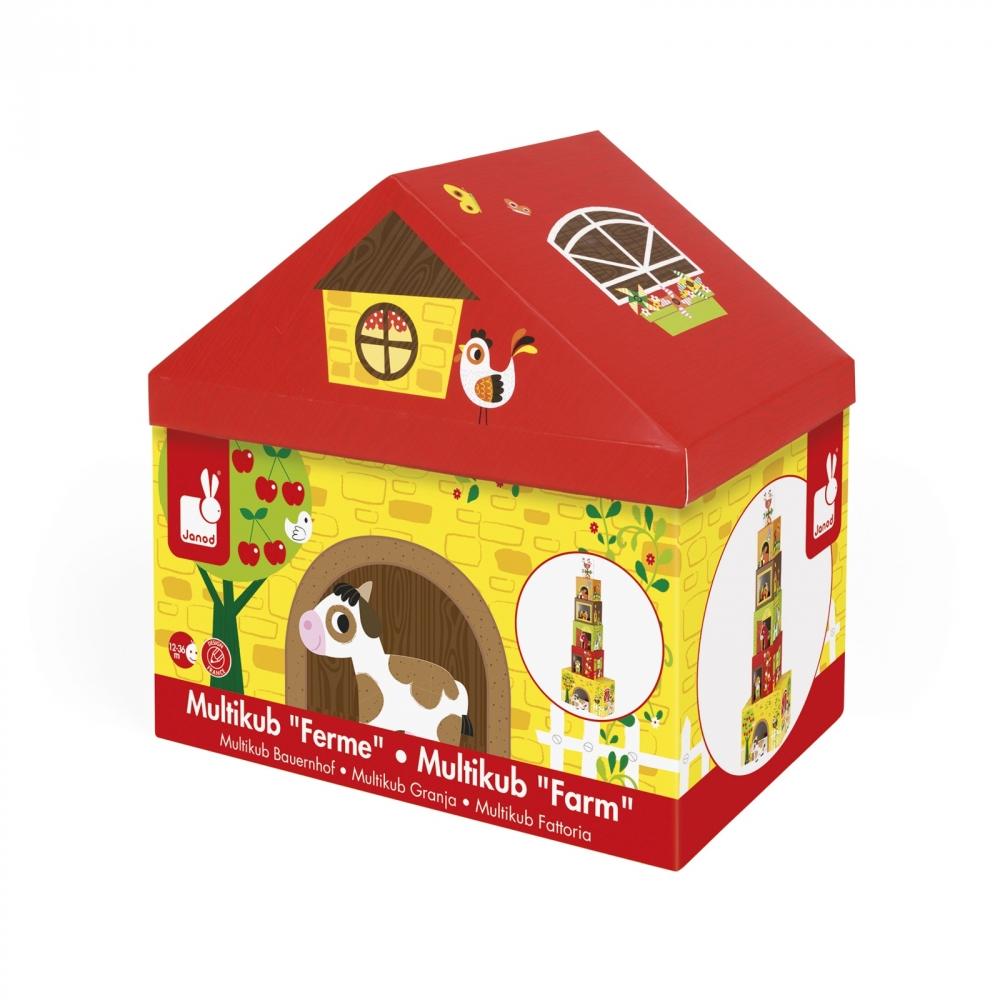 Фермата- образователна играчка от кубчета - дървени играчки и игри от Janod(2)-bellamiestore