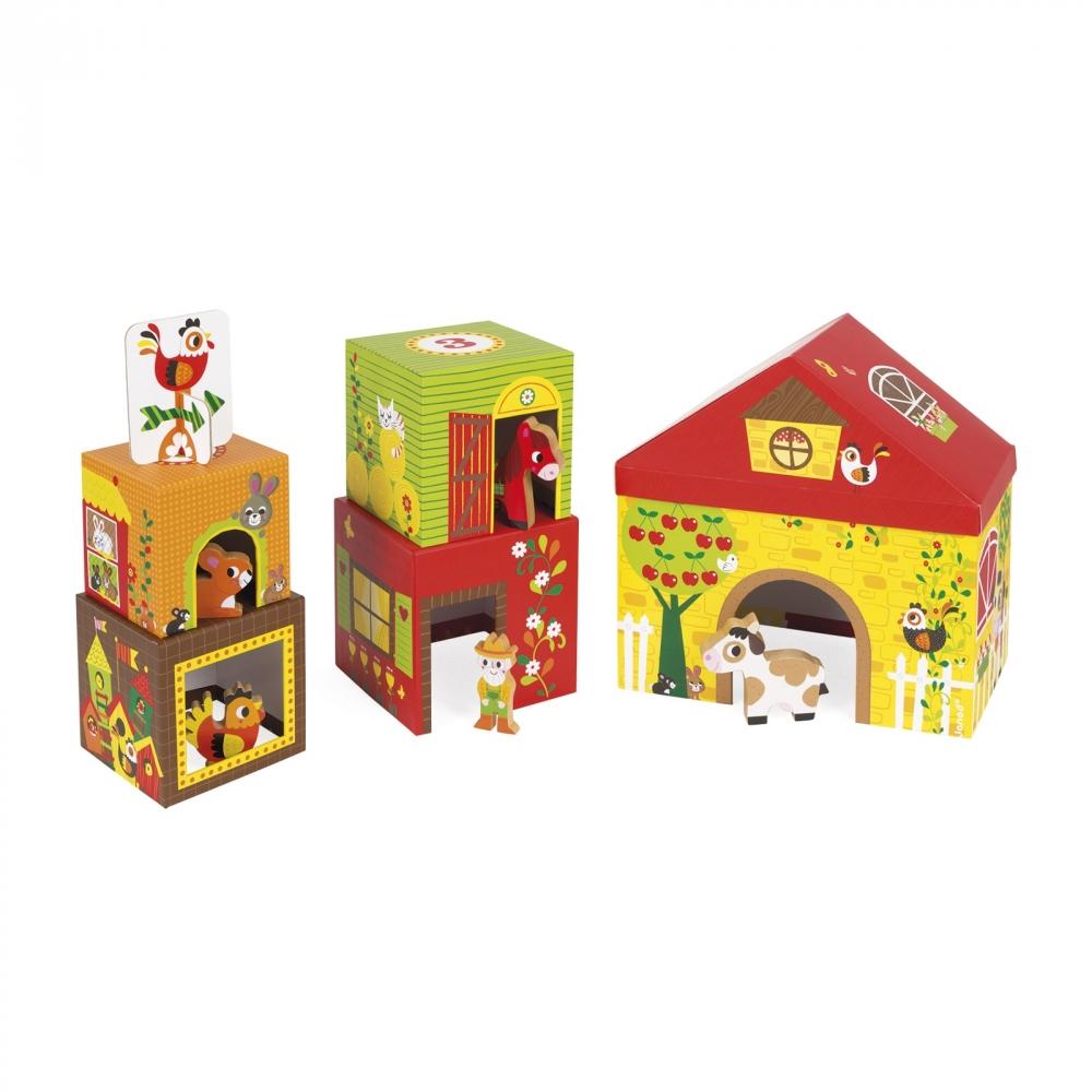Фермата- образователна играчка от кубчета - дървени играчки и игри от Janod(3)-bellamiestore