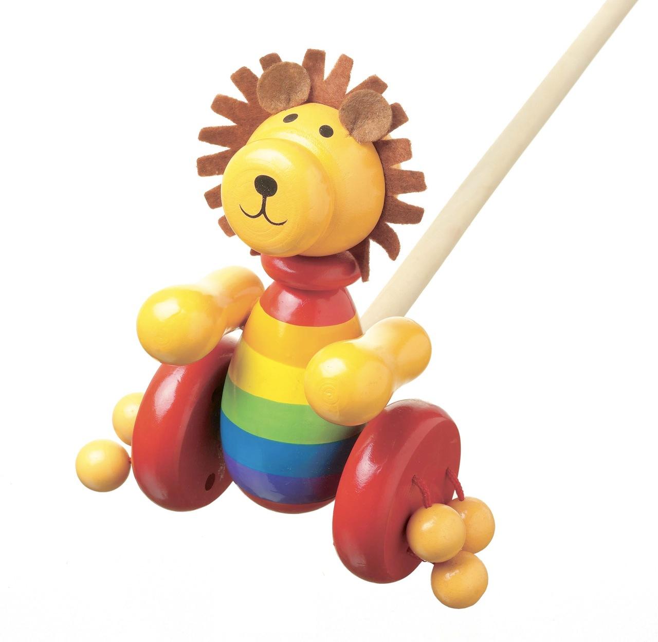 Играчка за бутане - Лъвче с грива Orange Tree Toys - дървени бебешки играчки - Bellamie