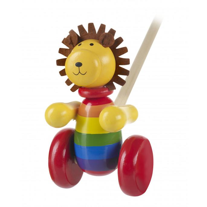 Играчка за бутане - Лъвче с грива Orange Tree Toys - дървени бебешки играчки-bellamiestore