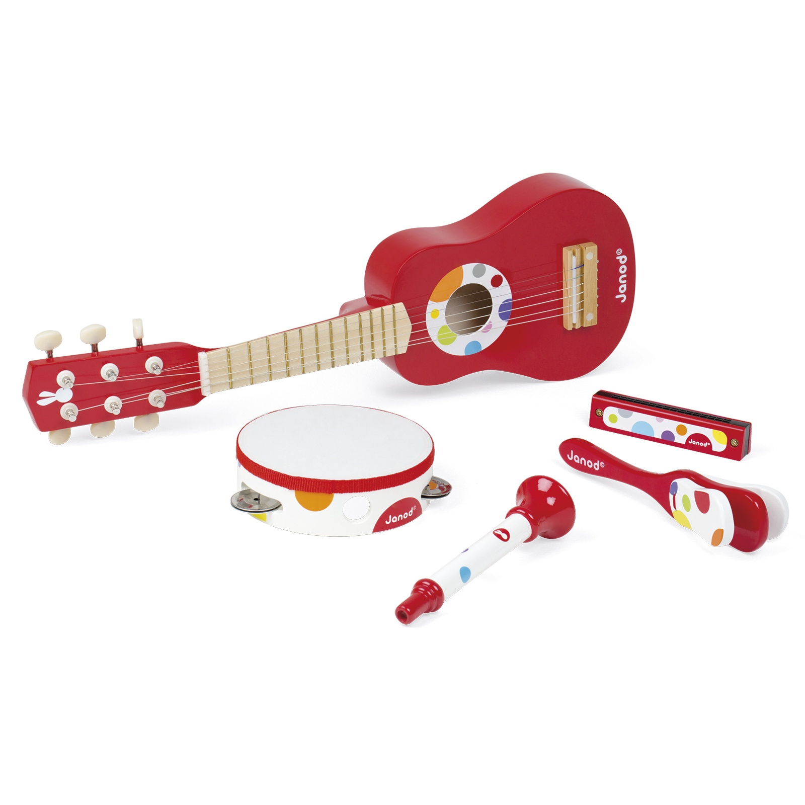 Комплект детски музикални инструменти Конфети от Janod- китара,кречетало, дайре, хармоника и тромпет(2)-bellamiestore