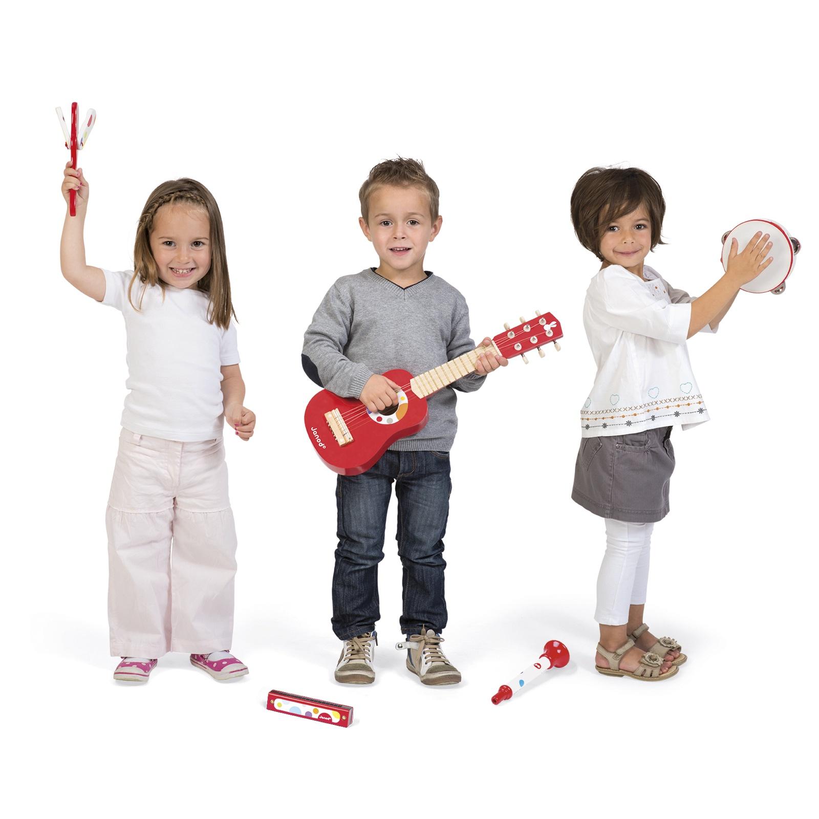 Комплект детски музикални инструменти Конфети от Janod- китара,кречетало, дайре, хармоника и тромпет(1)-bellamiestore