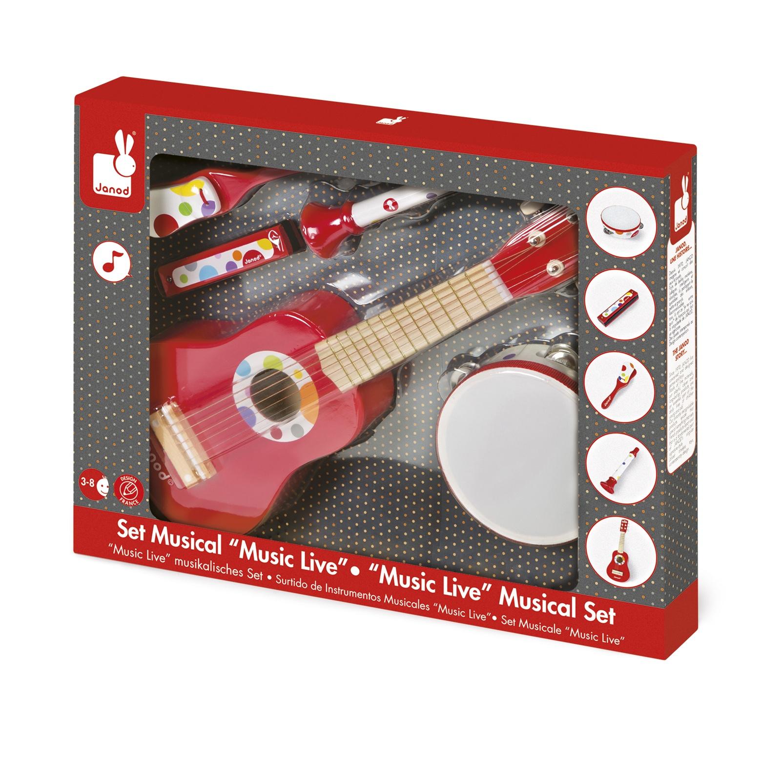 Комплект детски музикални инструменти Конфети от Janod- китара,кречетало, дайре, хармоника и тромпет-bellamiestore