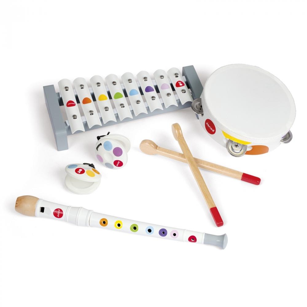 Комплект детски музикални инструменти от janod- ксилофон, дайре, флейта и кастанети(1)-bellamiestore