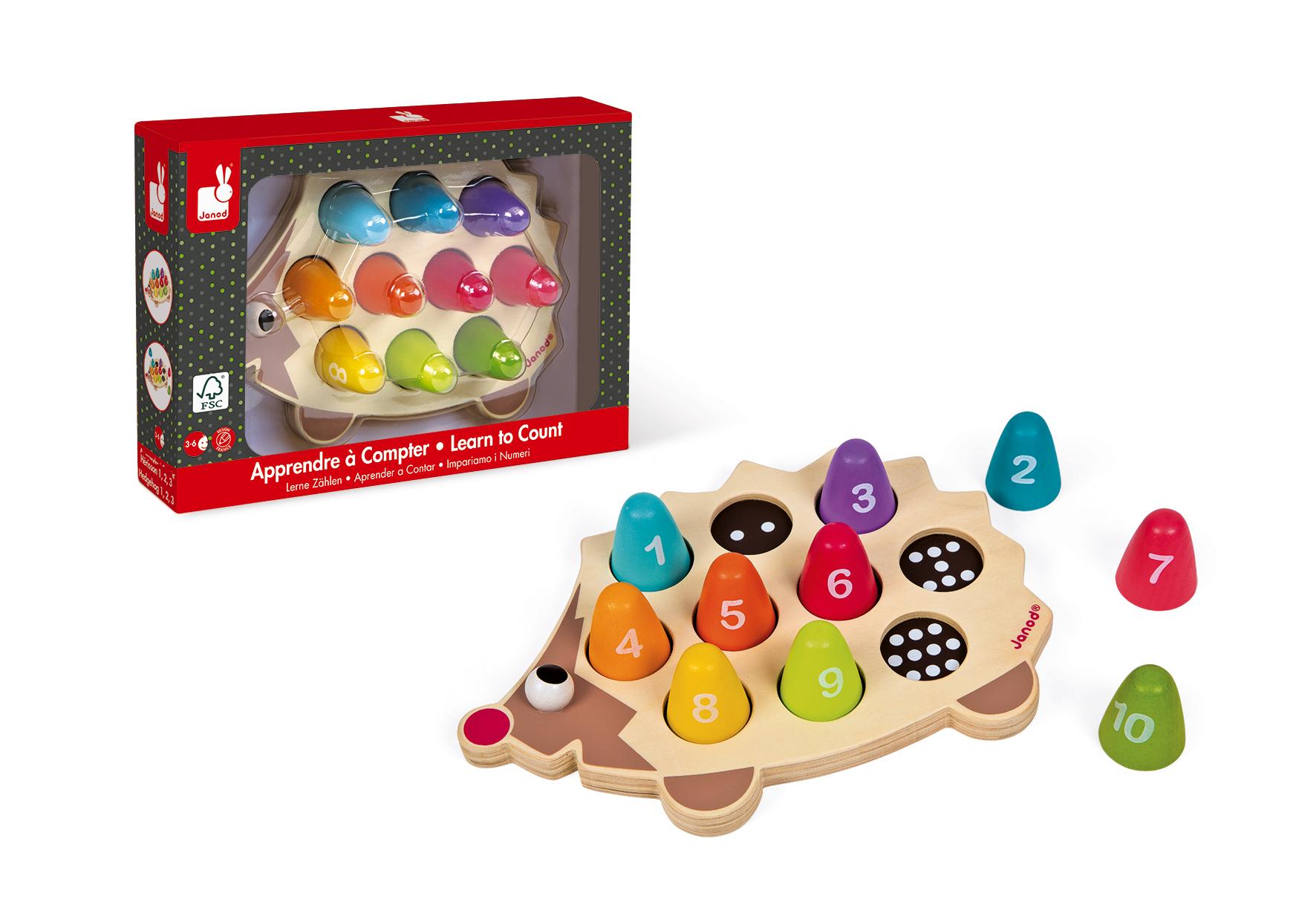 Образователна играчка Аз се уча да броя с Таралеж- дървени играчки от Janod (1)-bellamiestore