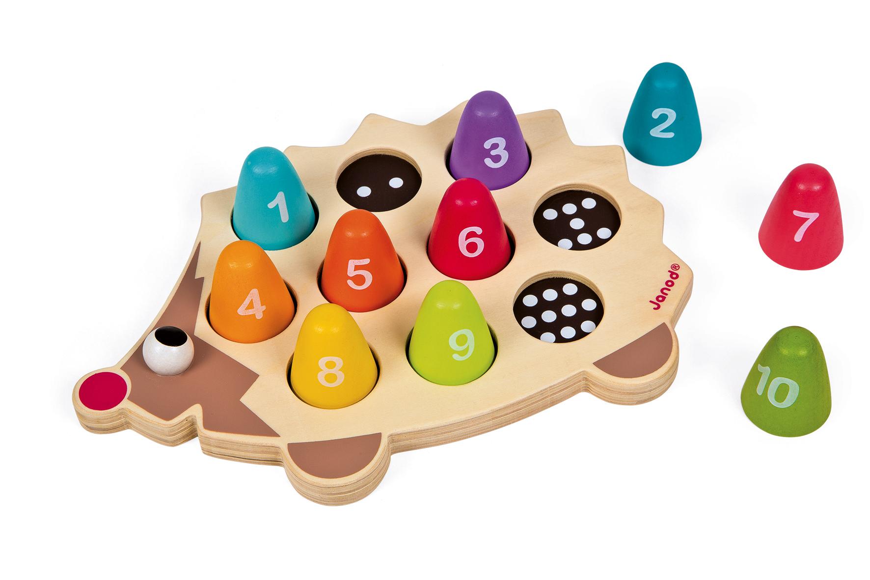 Образователна играчка Аз се уча да броя с Таралеж- дървени играчки от Janod -bellamiestore
