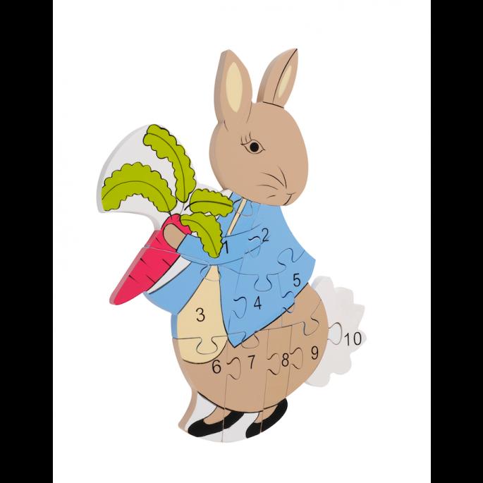 Дървен образователен пъзел с числа - Зайчето Питър от Orange Tree Toys - Bellamiestore