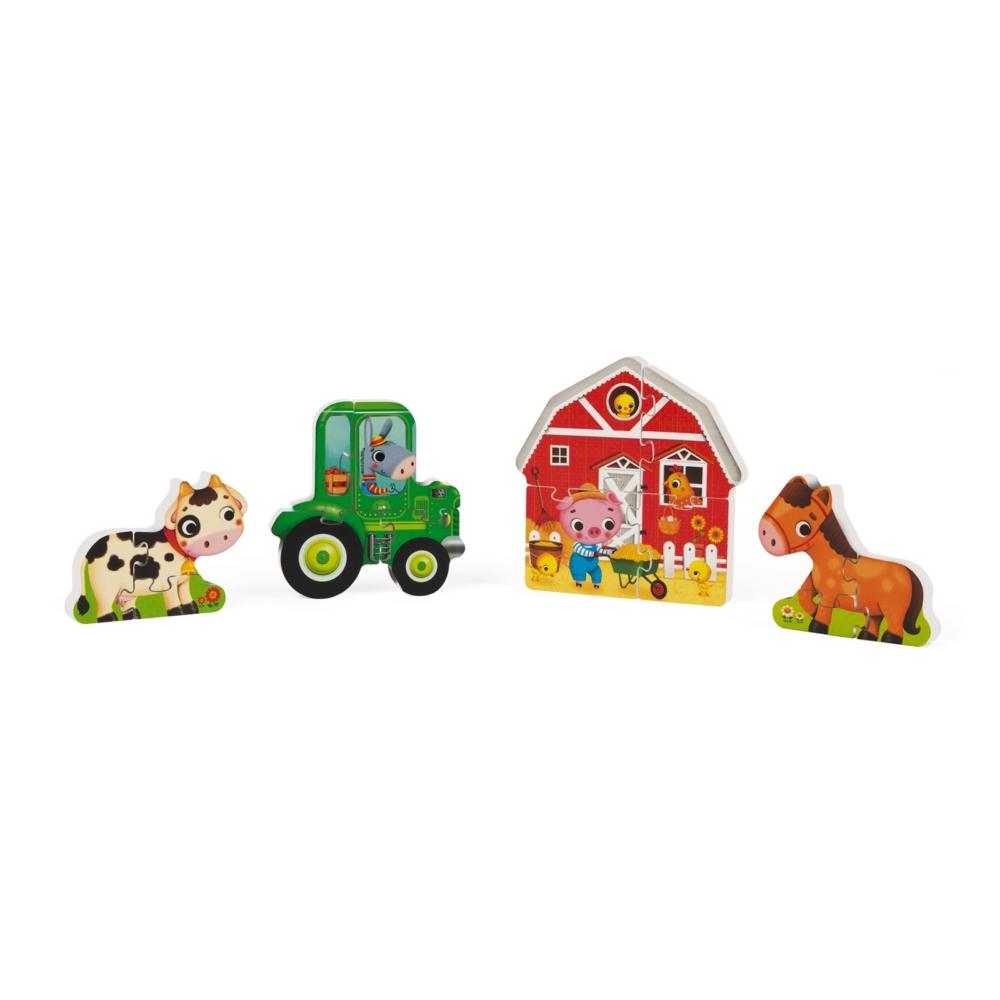 детски дървен пъзел - Фермата 3D- дървени играчки от Janod-bellamiestore
