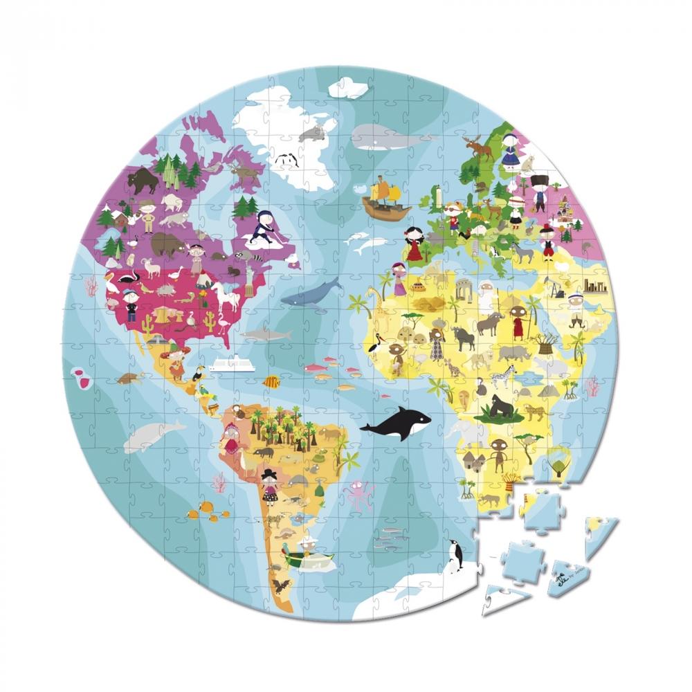 Детски пъзел в куфар-Нашата планета от 208 части-детски образователни играчки от Janod(4)-bellamiestore