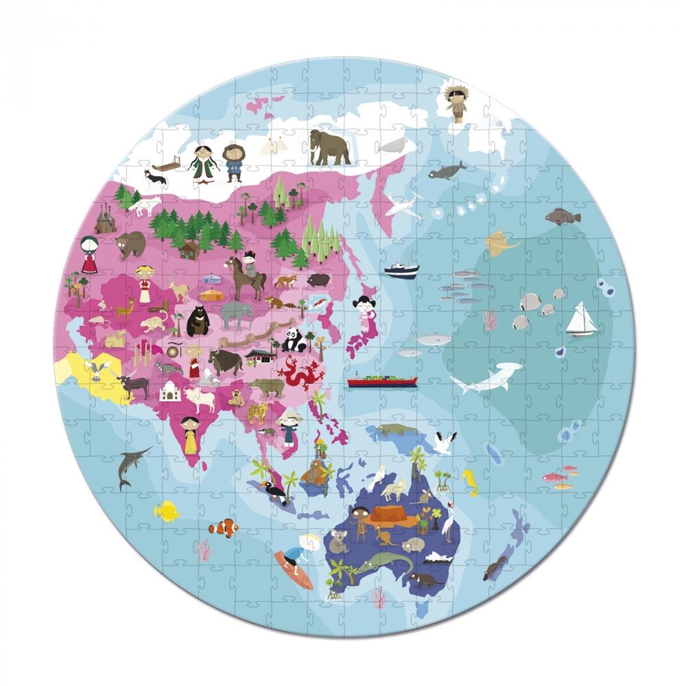 Детски пъзел в куфар-Нашата планета от 208 части-детски образователни играчки от Janod(3)-bellamiestore