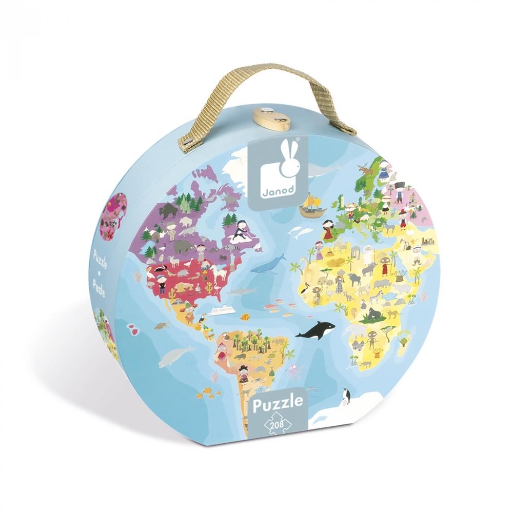 Детски пъзел в куфар-Нашата планета от 208 части-детски образователни играчки от Janod(2)-bellamiestore