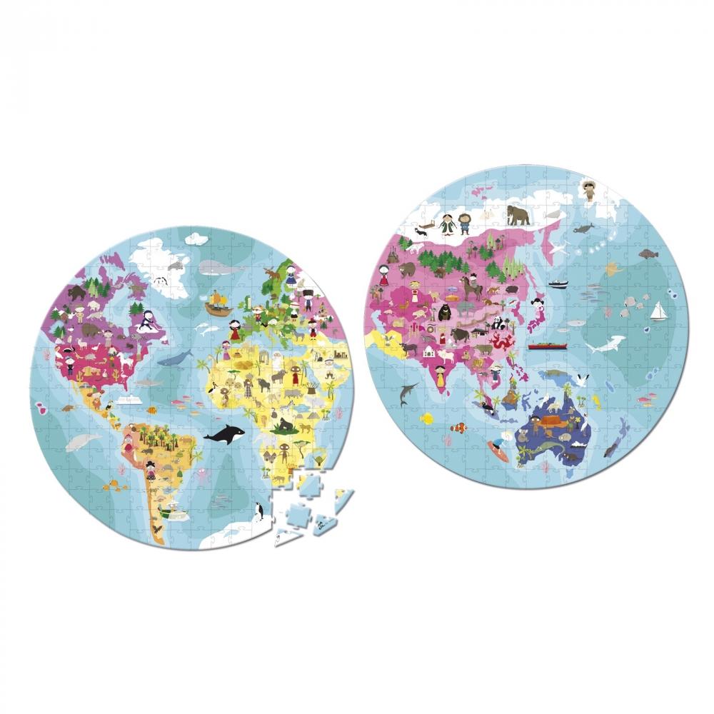 Детски пъзел в куфар-Нашата планета от 208 части-детски образователни играчки от Janod(1)-bellamiestore