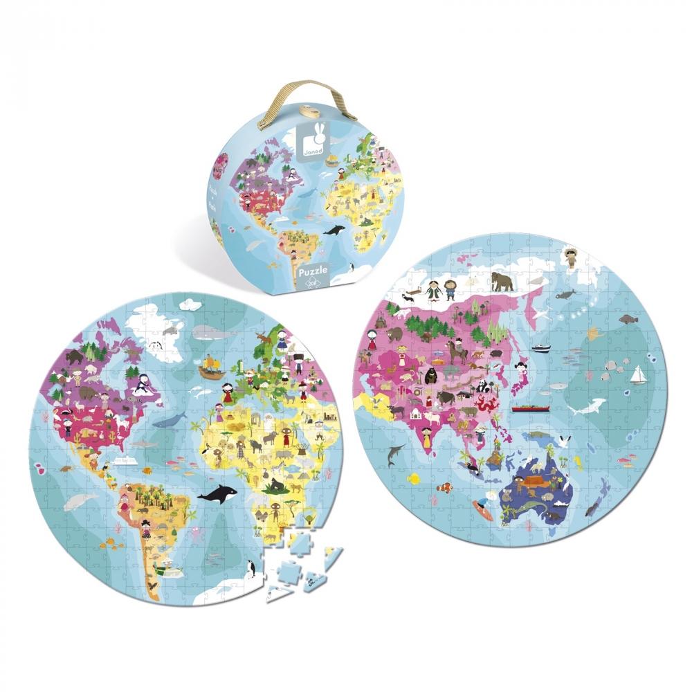 Детски пъзел в куфар-Нашата планета от 208 части-детски образователни играчки от Janod-bellamiestore
