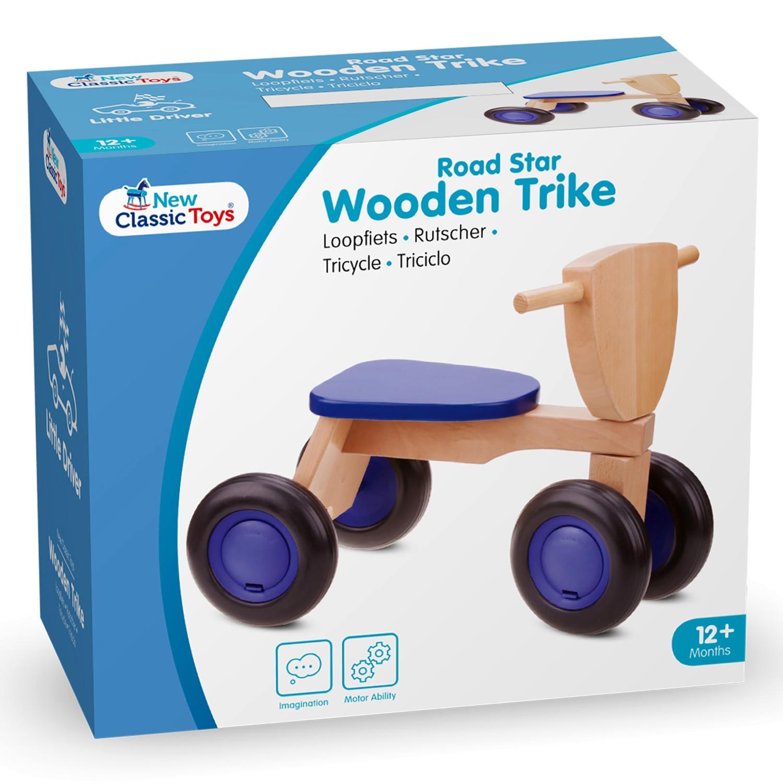 Детско дървено колело за бутане и баланс в синьо - бебешки играчки от New classic toys-bellamiestore