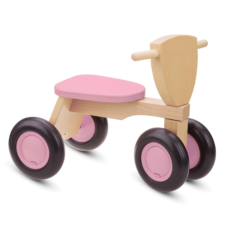 Детско дървено колело за бутане и баланс в розово - бебешки играчки от New classic toys-bellamiestore
