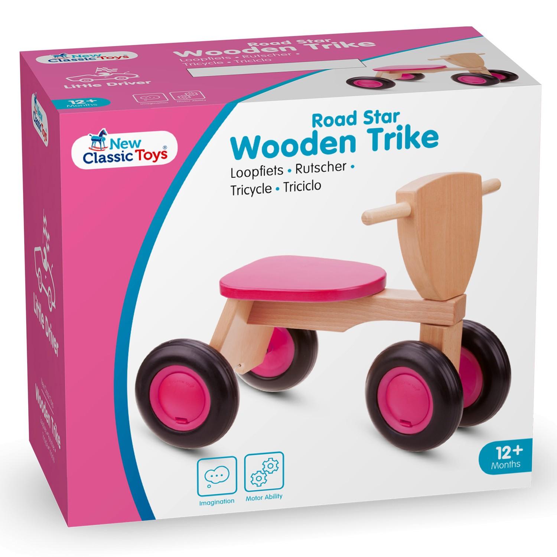 Детско дървено колело за бутане и баланс в розово - бебешки играчки от New classic toys(1)-bellamiestore
