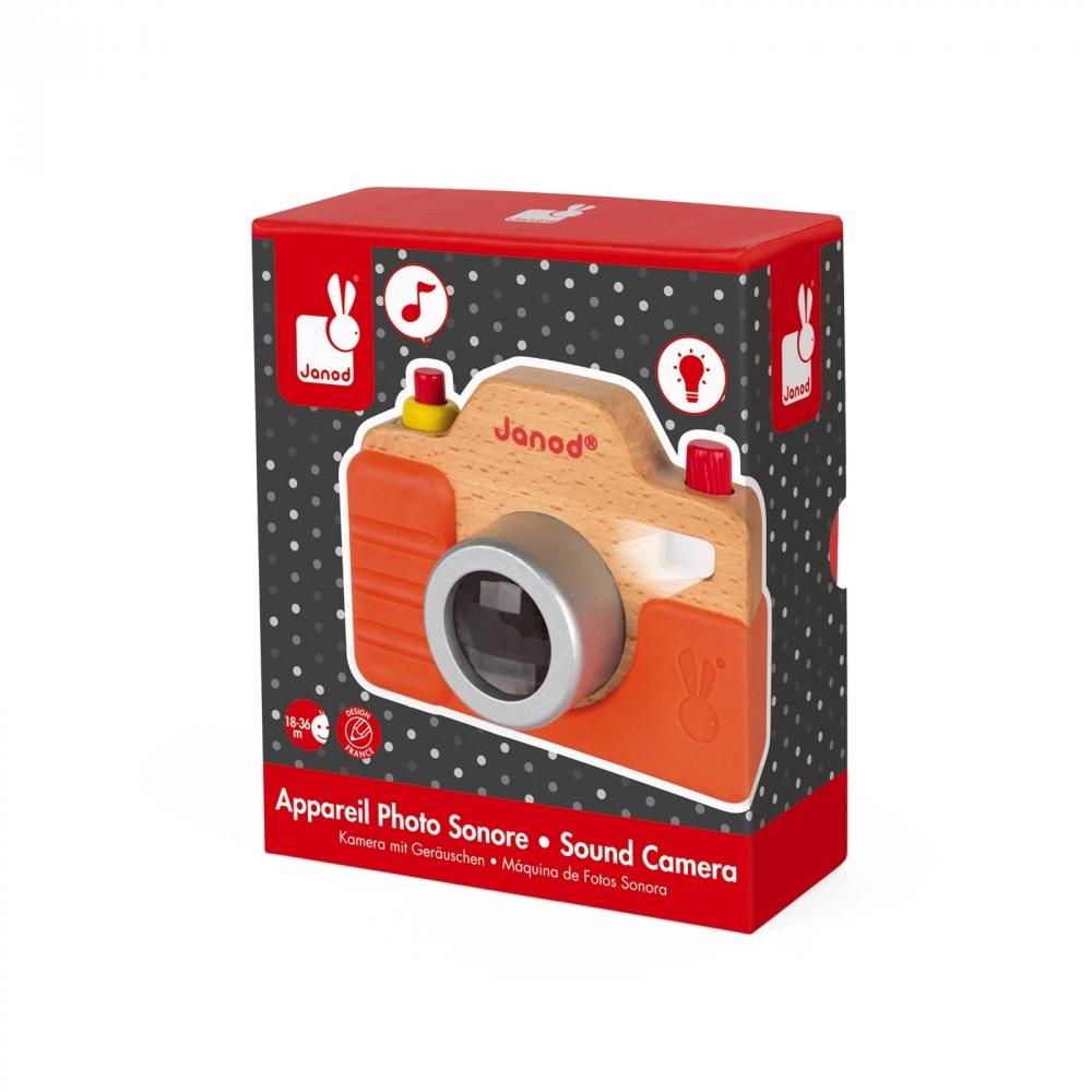 Дървена играчка Фотоапарат със светкавица- бебешки и детски играчки от Janod(2)-bellamiestore