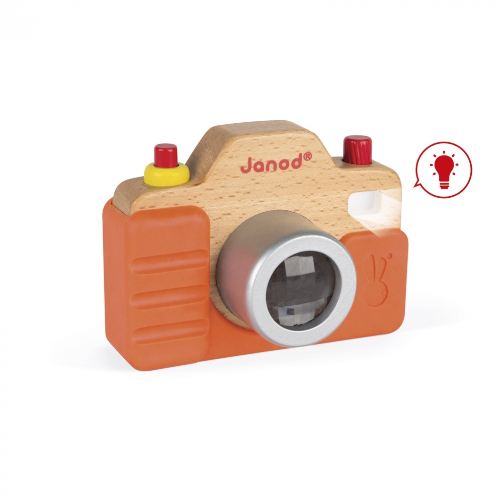 Дървена играчка Фотоапарат със светкавица- бебешки и детски играчки от Janod(3)-bellamiestore
