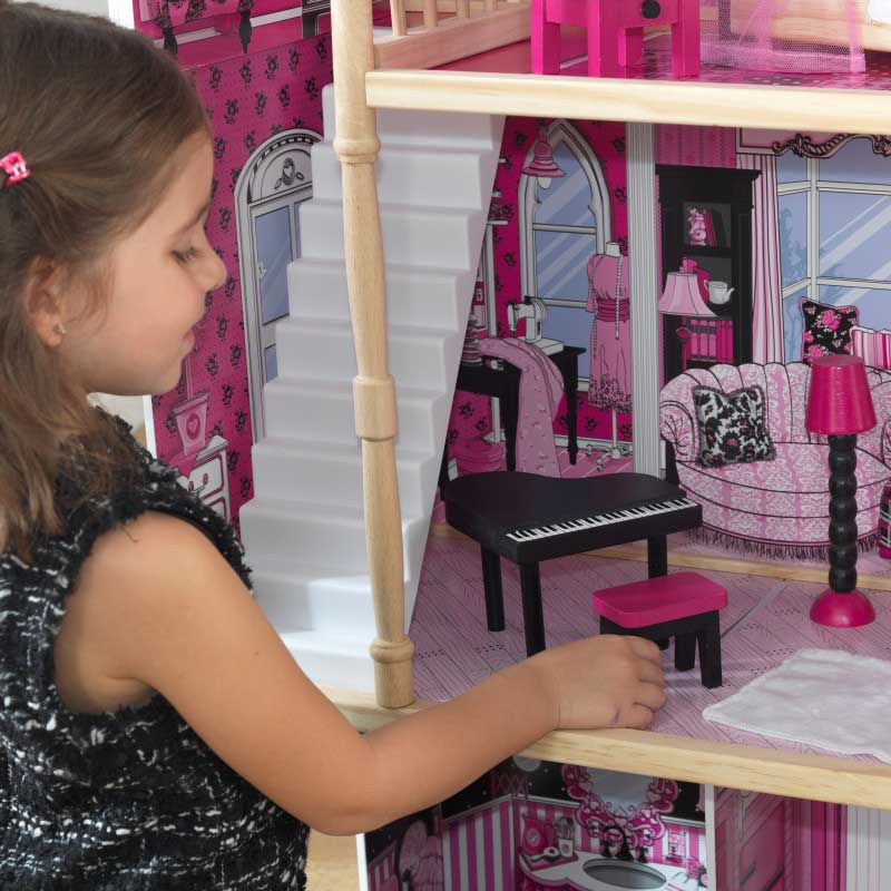 Дървена къща за кукли -Амелия от KidKraft- детски играчки за момичета -дървена играчка(4)-bellamiestore