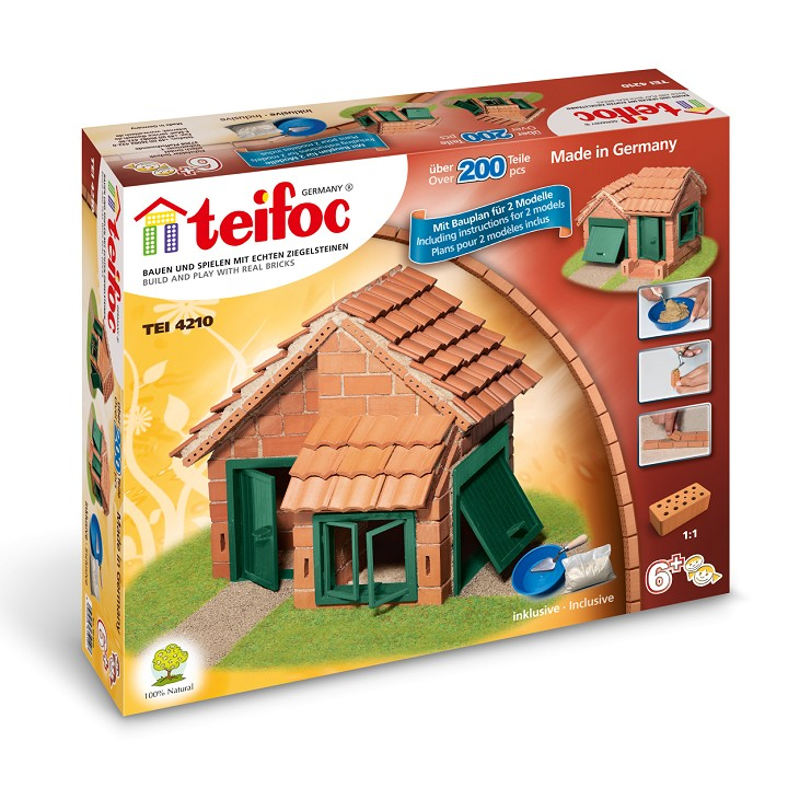 Строителен комплект с тухли- Къща с гараж- конструктори и творчески комплекти от Teifoc-bellamiestore