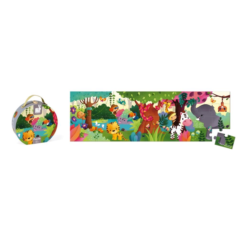 Панорамен детски пъзел - Сафари в куфар- детски играчки от Janod-bellamiestore