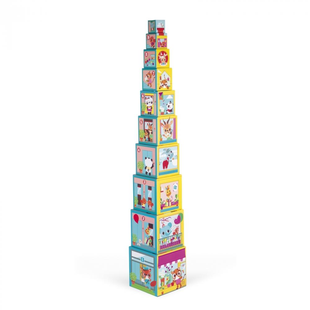 Пирамида от детски кубчета - Приятели в града от Janod - детски играчки(3)-bellamiestore