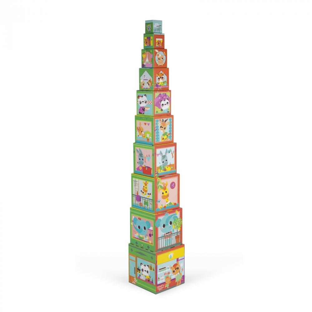 Пирамида от детски кубчета - Приятели в града от Janod - детски играчки-bellamiestore