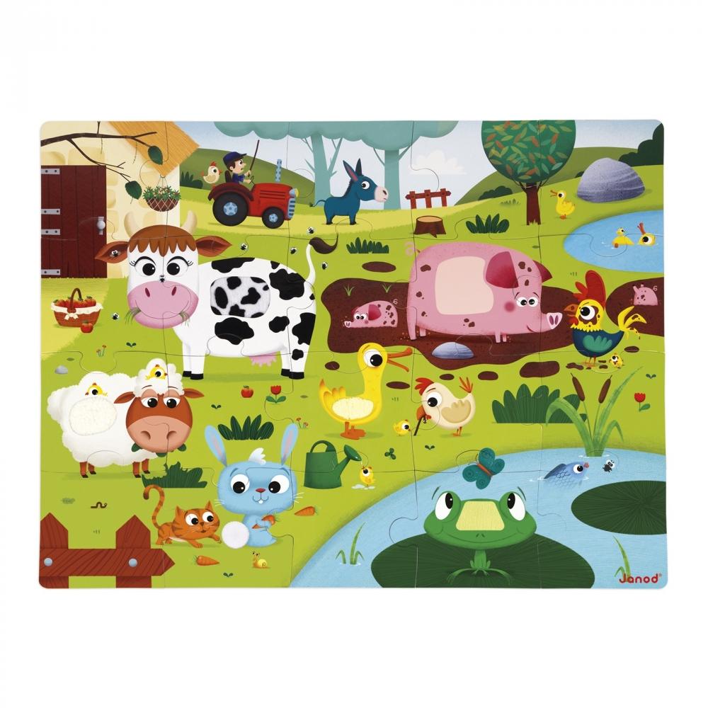 Пъзел за деца осезание - Живота в фермата - детски играчки от Janod(1)-bellamiestore