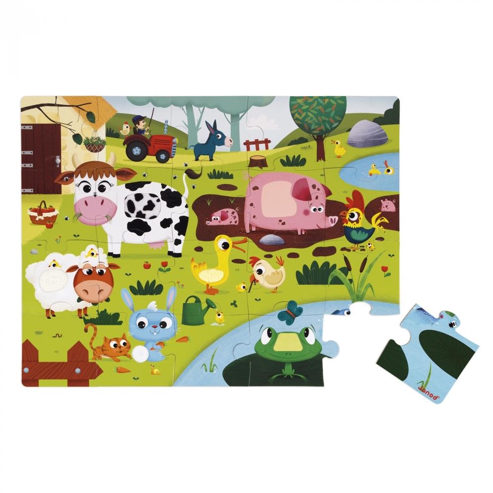 Пъзел за деца осезание - Живота в фермата - детски играчки от Janod(4)-bellamiestore