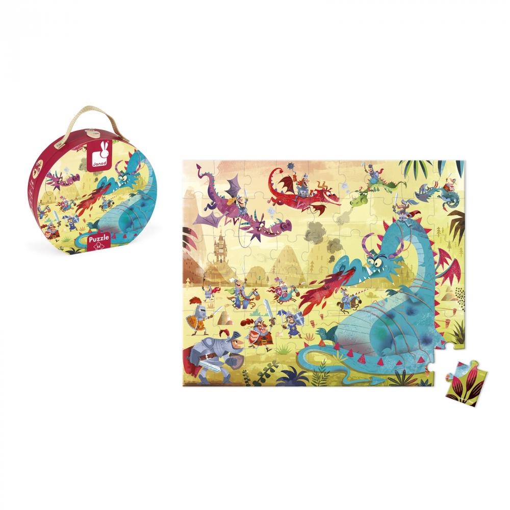 Пъзел за деца в куфар - Дракони от 54 части- детски играчки от Janod-bellamiestore