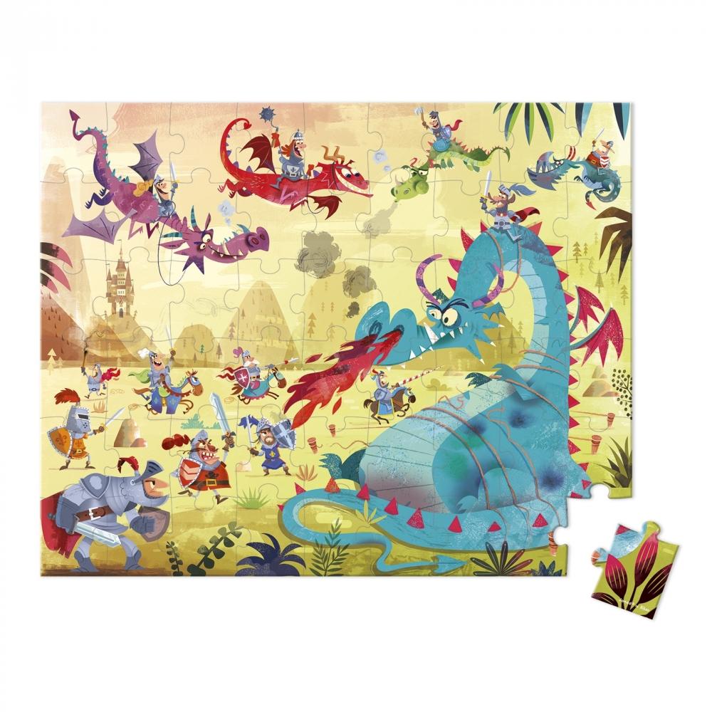 Пъзел за деца в куфар - Дракони от 54 части- детски играчки от Janod(4)-bellamiestore
