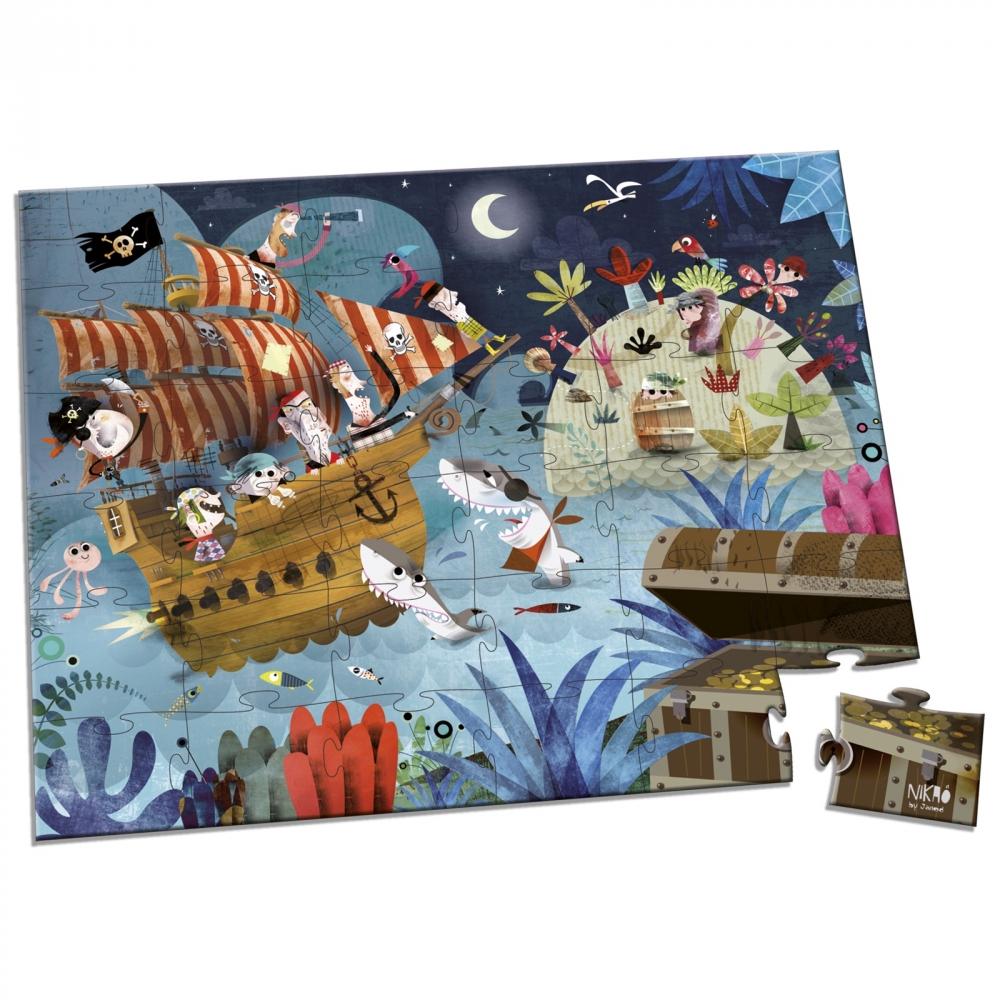 Пъзел за деца в куфар - На лов за съкровища от 36 части - Детски играчки за момчета -Janod-bellamiestore