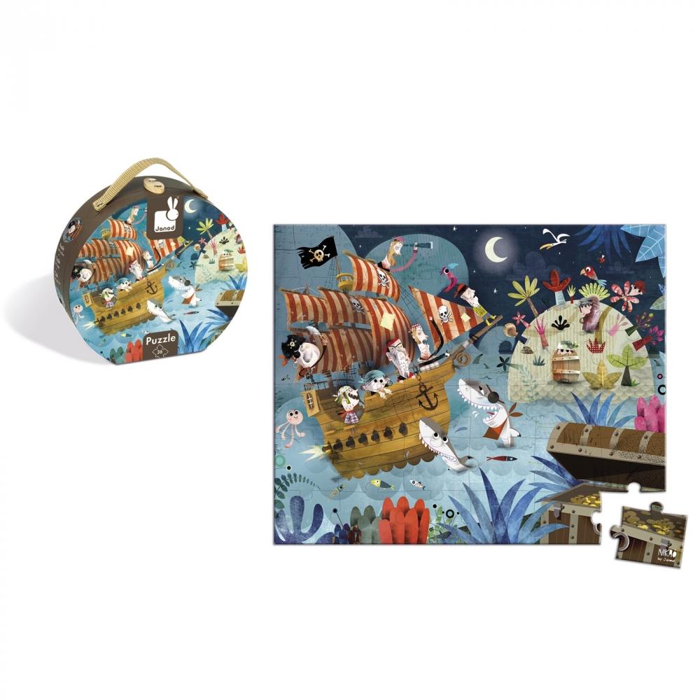 Пъзел за деца в куфар - На лов за съкровища от 36 части - Детски играчки за момчета -Janod(3)-bellamiestore