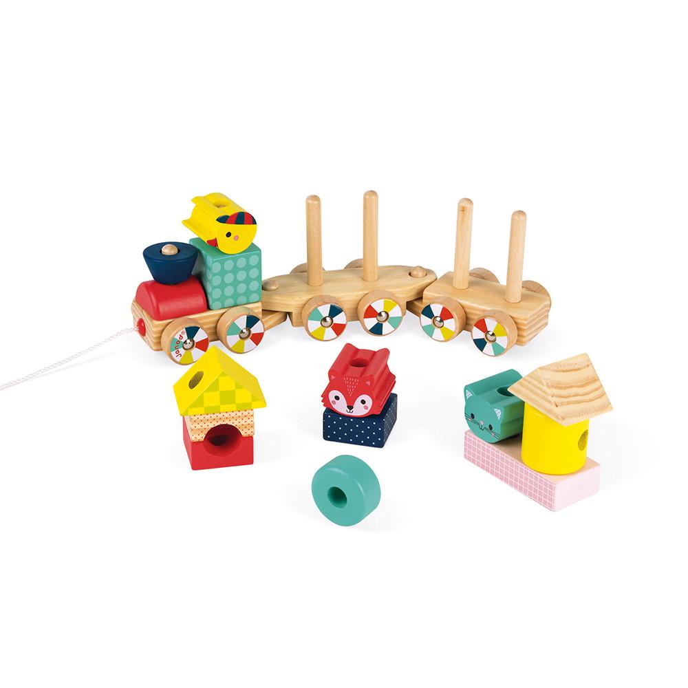 Детско дървено влакче-горски бебета животни от janod-бебешки играчки-bellamiestore