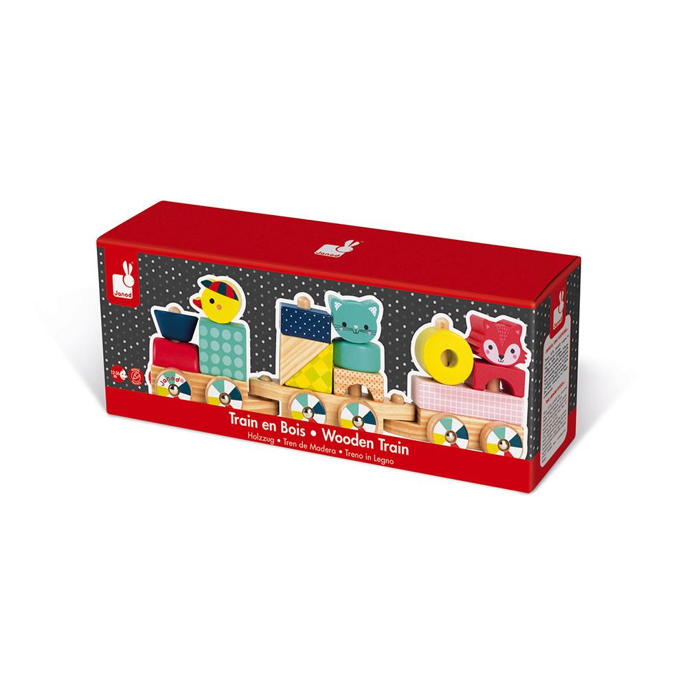 Детско дървено влакче-горски бебета животни от janod-бебешки играчки(2)-bellamiestore