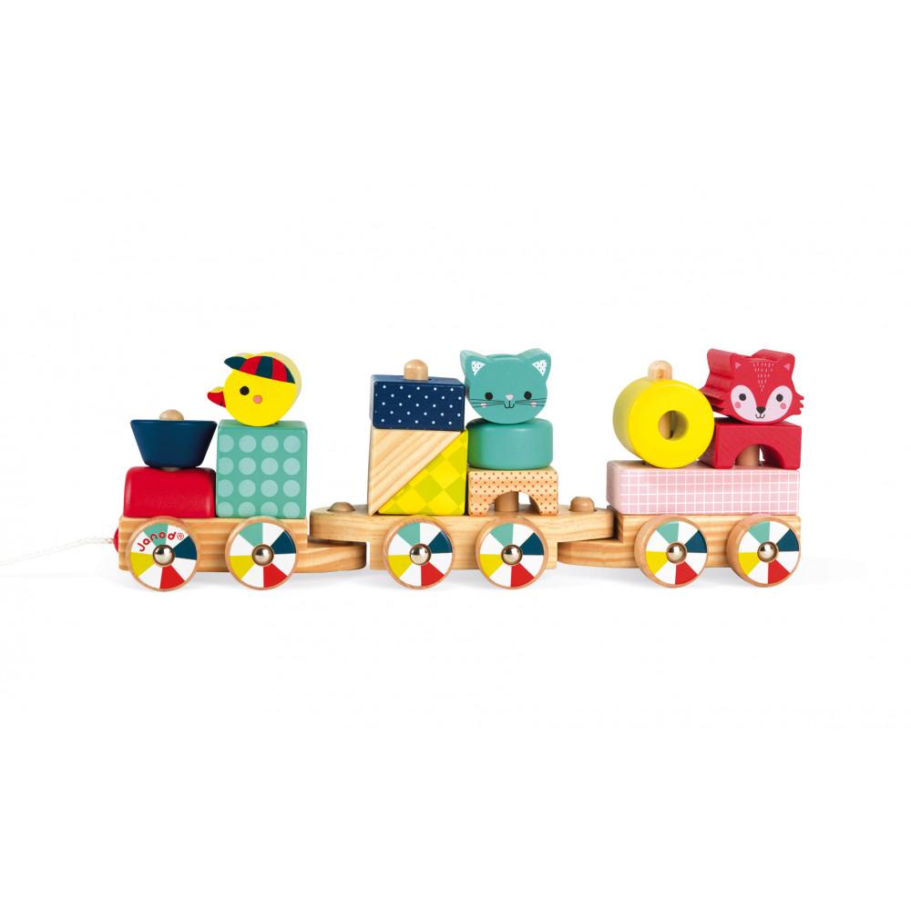 Детско дървено влакче-горски бебета животни от janod-бебешки играчки(3)-bellamiestore