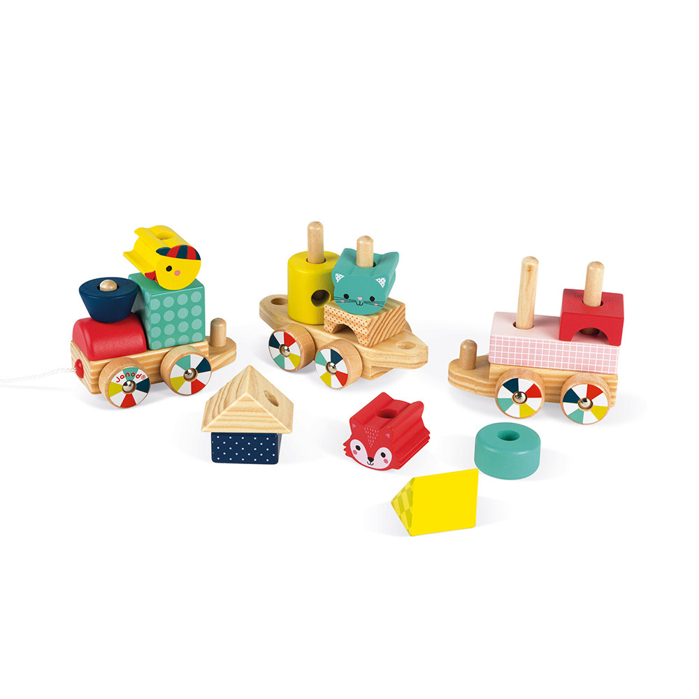 Детско дървено влакче-горски бебета животни от janod-бебешки играчки(5)-bellamiestore